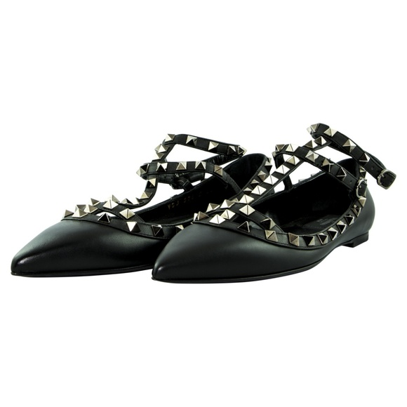 Valentino Rockstud Ballerina Flat Shoes